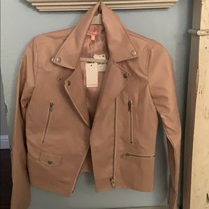 Soft pink Faux leather coat